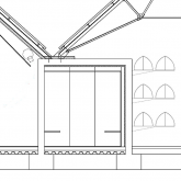 section of central changing space + roof detail