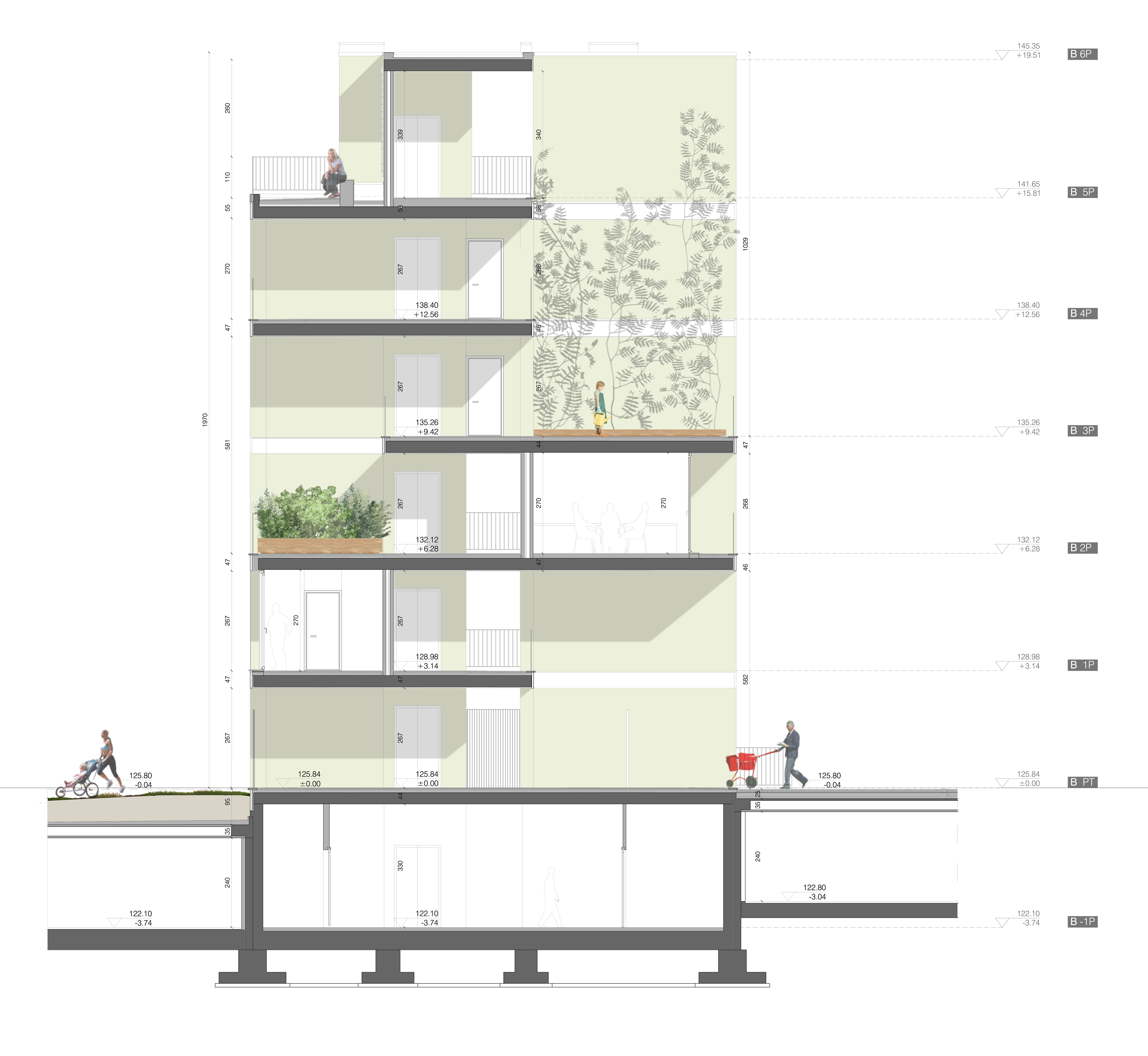section of the residential buildings© Consalez Rossi Architetti Associati