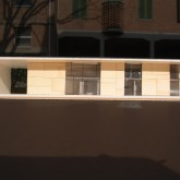 """final proposals model: south facade. In the final proposal the house is lifted from the ground as the settlements """"terramaricoli"""" originating in Emilia. That's allows to protect the deep aquifer under the house © Andrea Oliva 2006"""